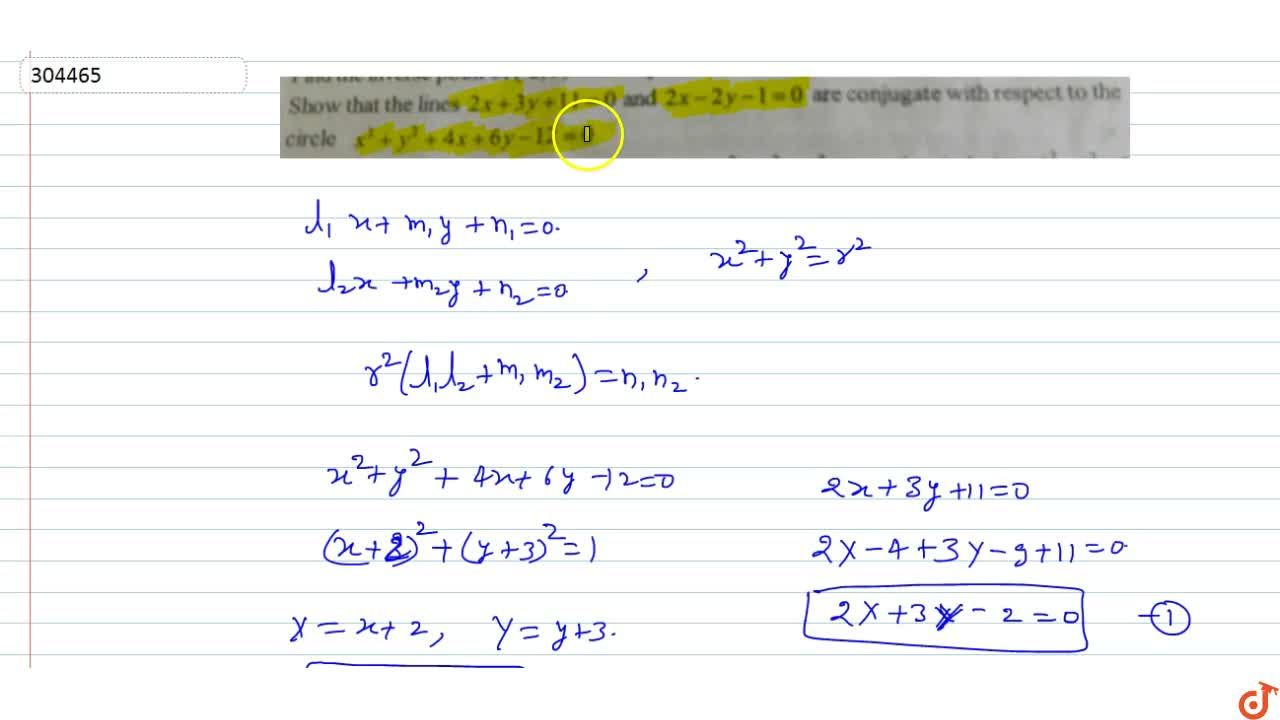 Solution for Show that the lines 2x + 3y+11 = 0  and 2x-2y-1