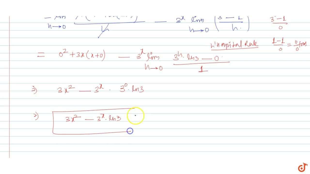 Find the derivative of y=x^3-3^x with respect to x using first principle.