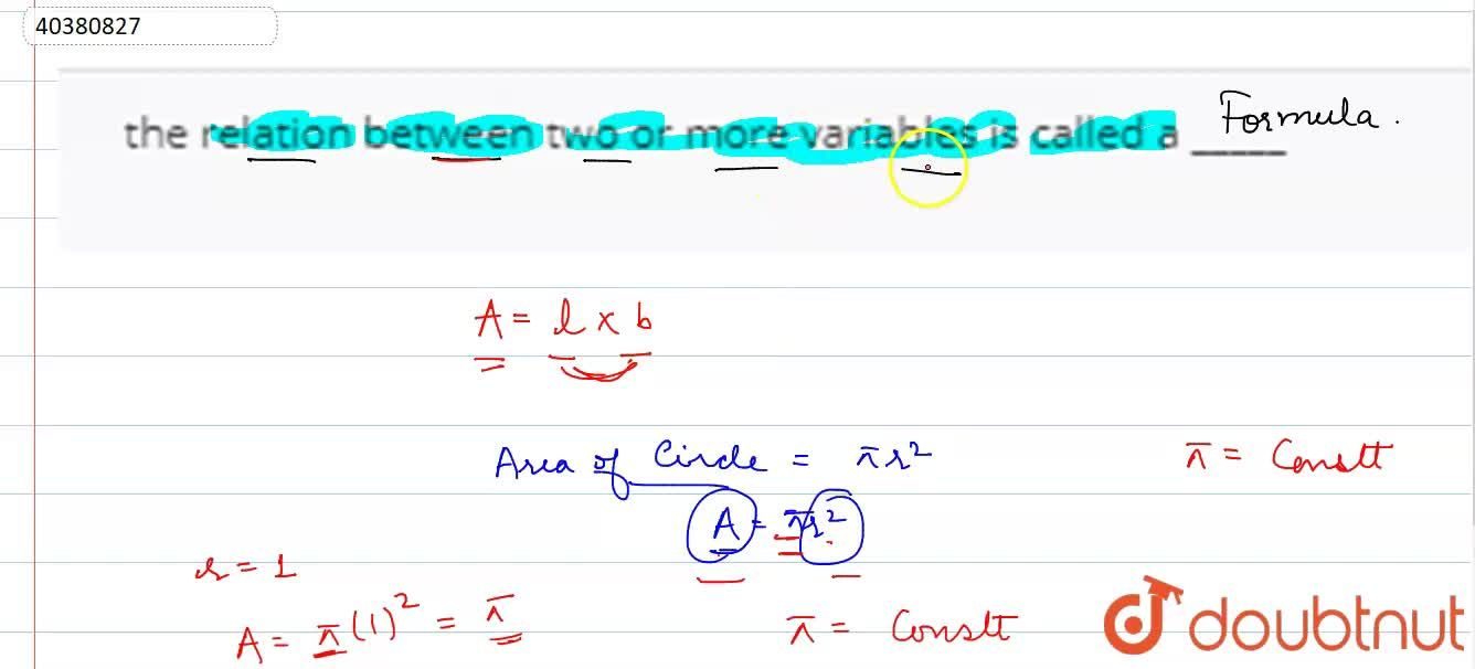 Solution for the relation between two or more variables is call