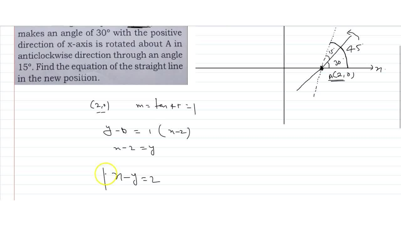 A line through the point A(2, 0) which makes an angle of 30^@ with the positive direction of x-axis is rotated about A in anticlockwise direction through an angle 15^@. Find the equation of the straight line in the new position.