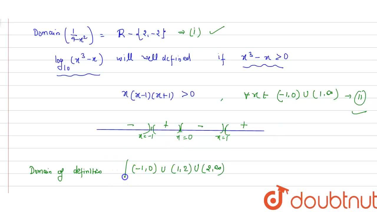 The domain of the definition of the function <br> f(x)=(1),(4-x^(2))+log_(10)(x^(3)-x) is