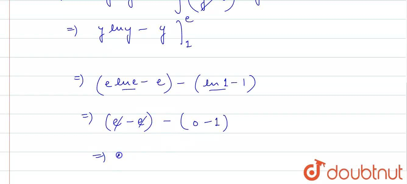 The area of the region bounded by the curve y=e^(x) and lines x=0 and y=e is