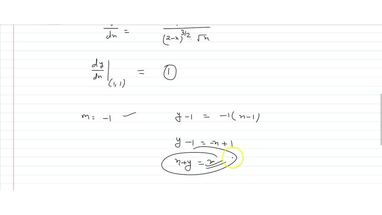 Equation of normal to the curve y^2=x,(2-x) at the point (1,1) is