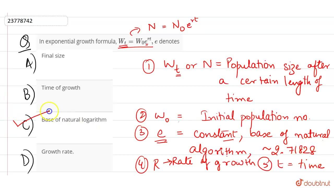 Solution for In exponential growth formula, W_(t)=W_(0)e^(rt),