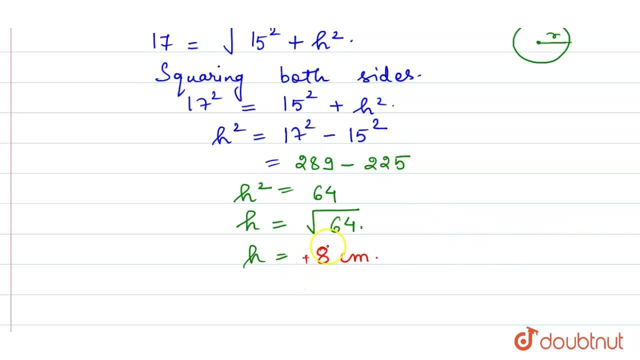 Solution for The slant height (l) of a cone is the square root