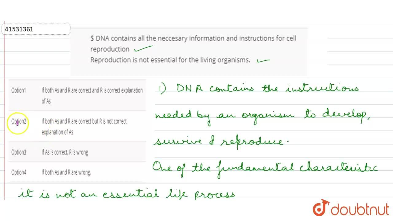 Solution for $ DNA contains all the neccesary information and i