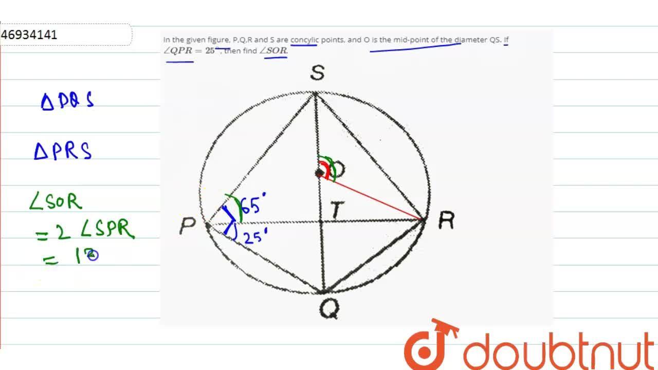 Solution for In the given figure, P,Q,R and S are concylic poin