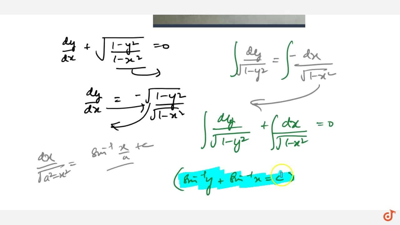 Solution for Solve the differential equation(dy),(dx)+sqrt((1-