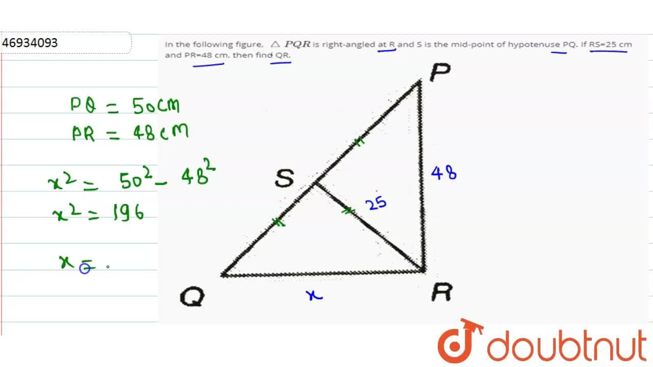 Solution for In the following figure, trianglePQR is right-an