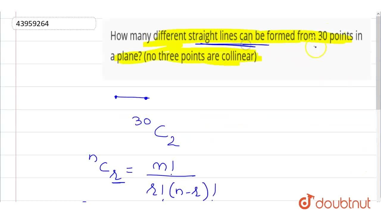 Solution for How many different straight lines can be formed fr