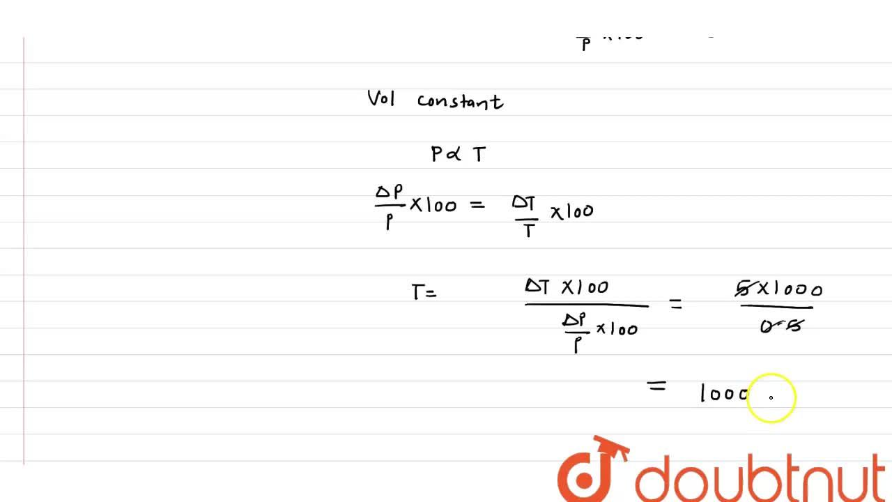 Solution for By increasing temperature of gas by 5^(@)C its p