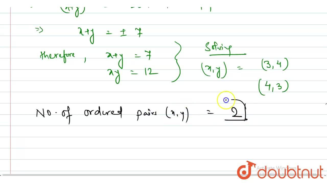 Solution for Number of ordered pair (s) (x,y) satisfying the sy
