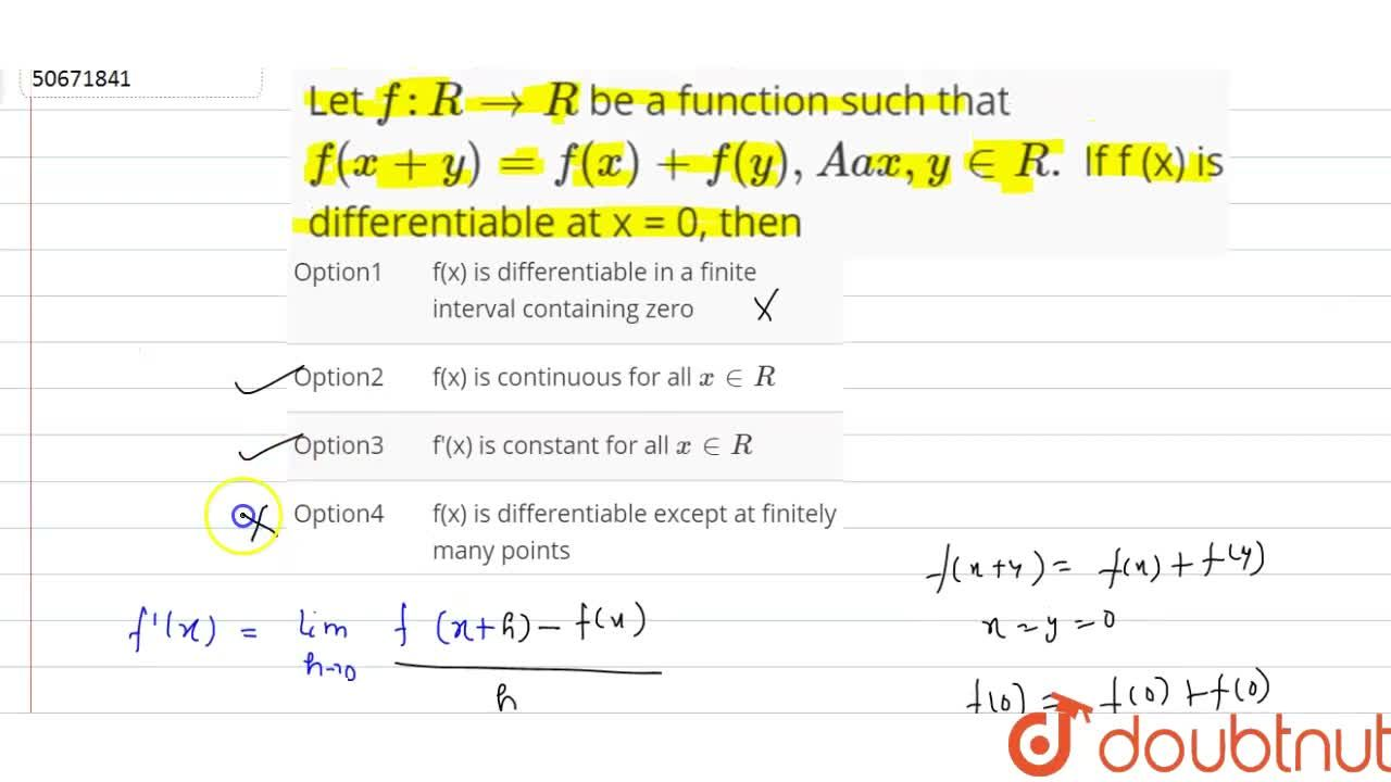 Solution for Let  f : R to R be a function such that <br> f(