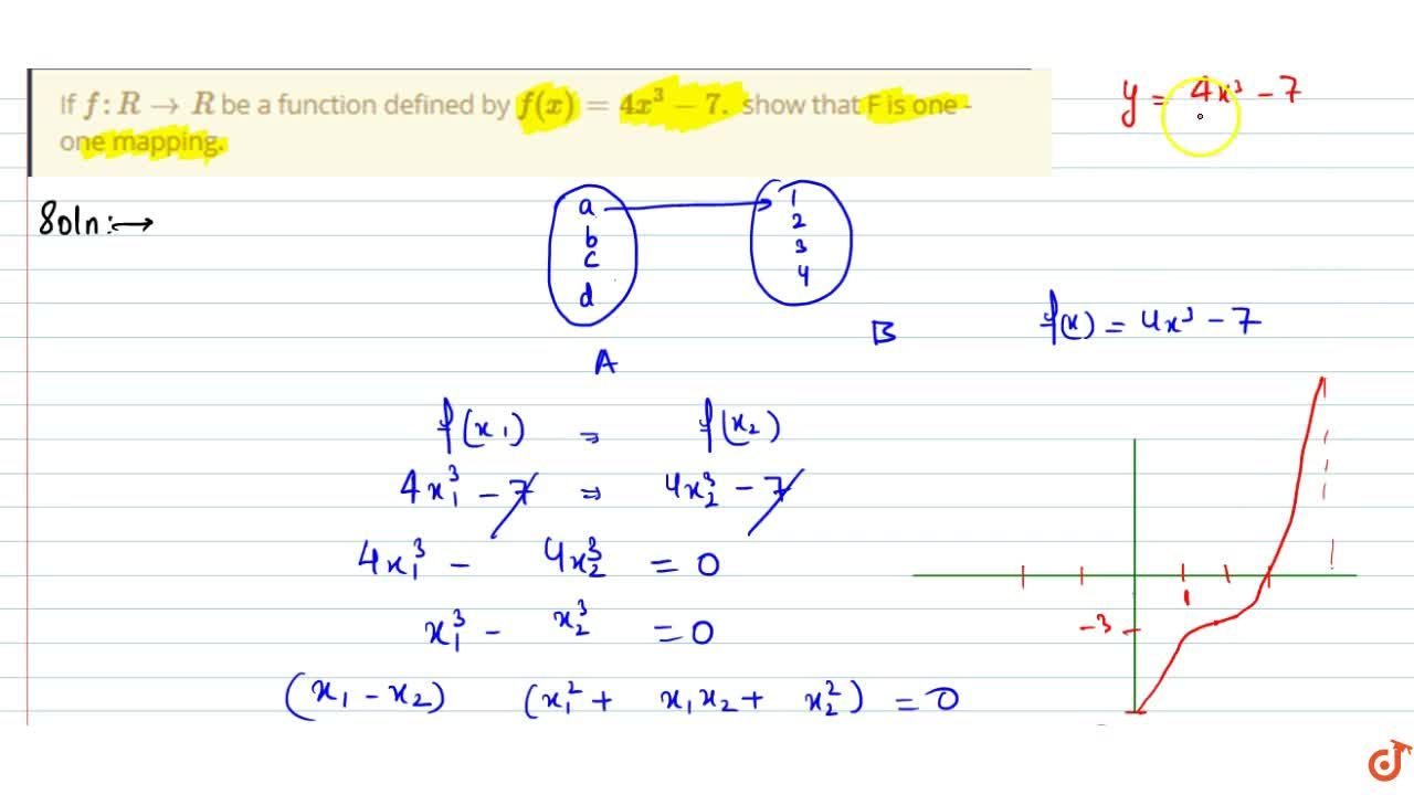 Solution for If  f:R->R be a function defined by f(x)=4x^3-7