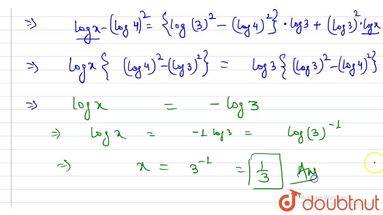 Consider the equations (3x)^(log3)=(4y)^(log4)and 4^(logx)=3^(logy) <br> Answer the following questins  <br> Value of x is