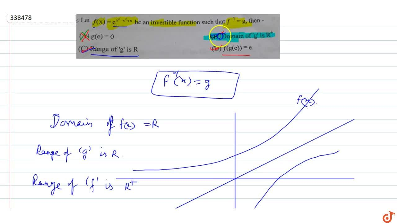 Solution for Let f(x) = e^(x^3-x^2+x)  be an invertible funct