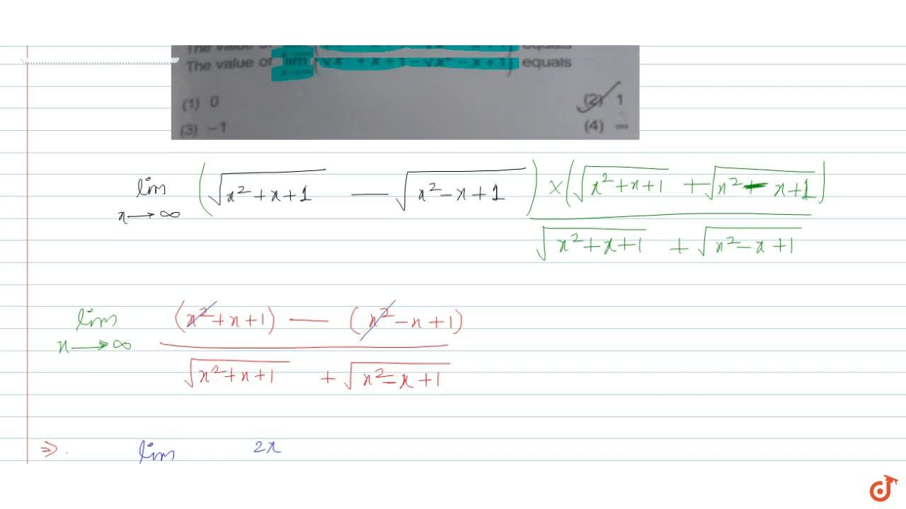 Solution for  The value of lim_(x -> oo) (sqrt(x^2+x+1) - sqrt