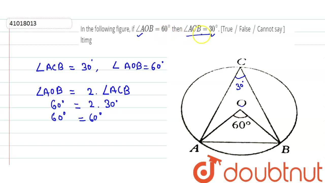 Solution for In the following figure, if ,_ AOB =60^(@) then