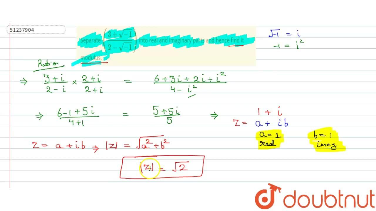 Solution for Separate ((3+sqrt(-1)),(2-sqrt(-1))) into real a