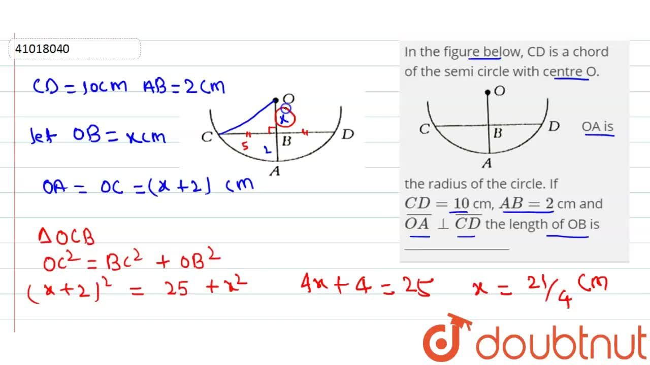 Solution for In the figure below, CD is a chord of the semi cir