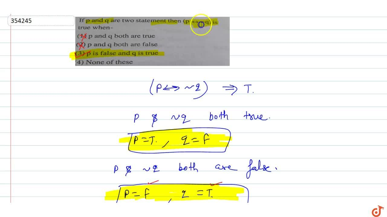 Solution for If p and q are two statement then (p <-> ~ q)