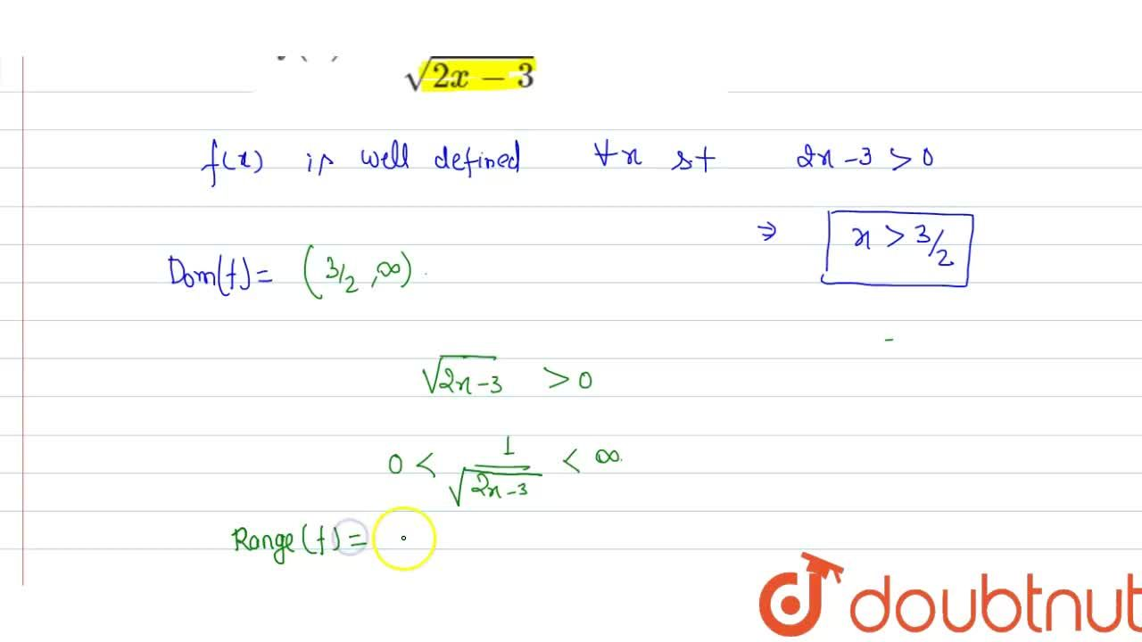 Solution for Find the domain of the range of each of the follow
