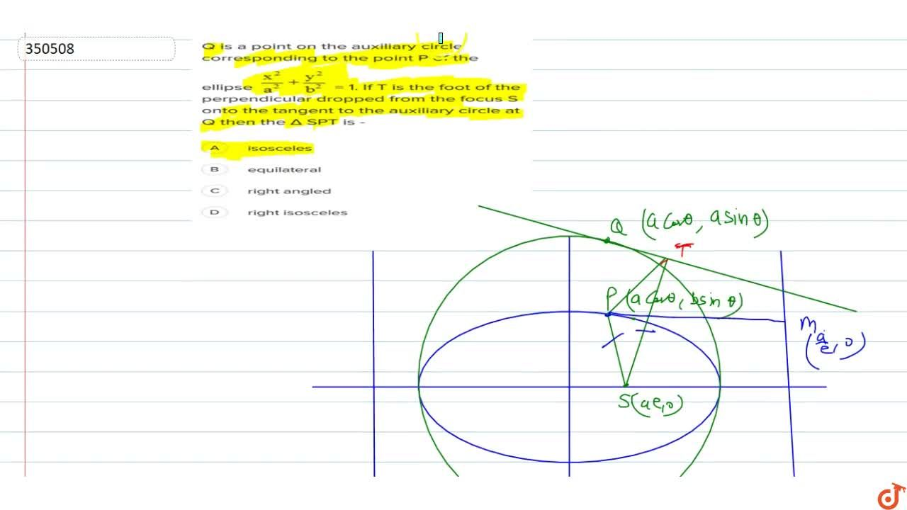 Solution for Q is a point on the auxiliary circle corresponding
