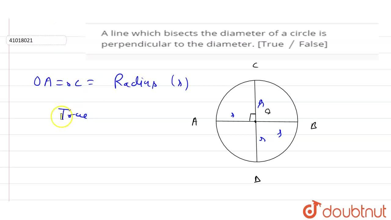 Solution for A line which bisects the diameter of a circle is p