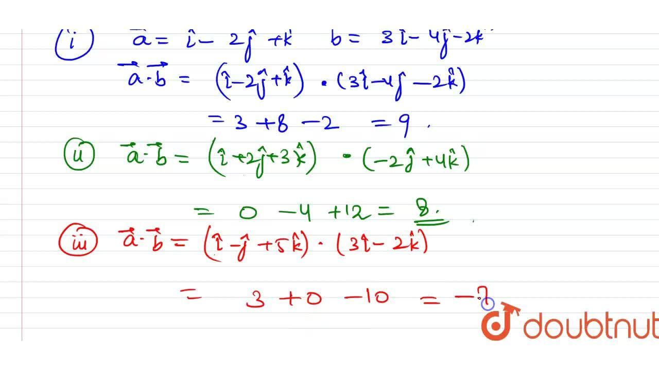 Solution for Find vec(A).vec(b) when <br> (i) vec(a)=hat(i)-