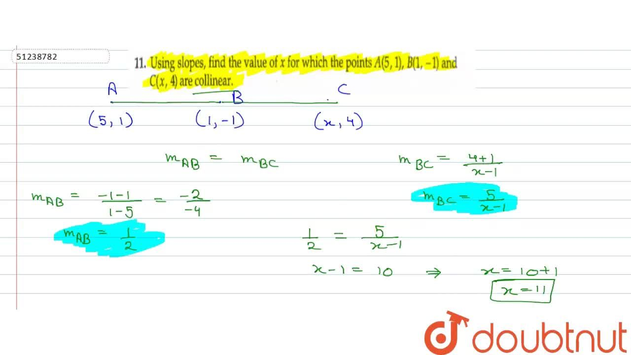 Solution for Using slopes, find the value of x for which the po