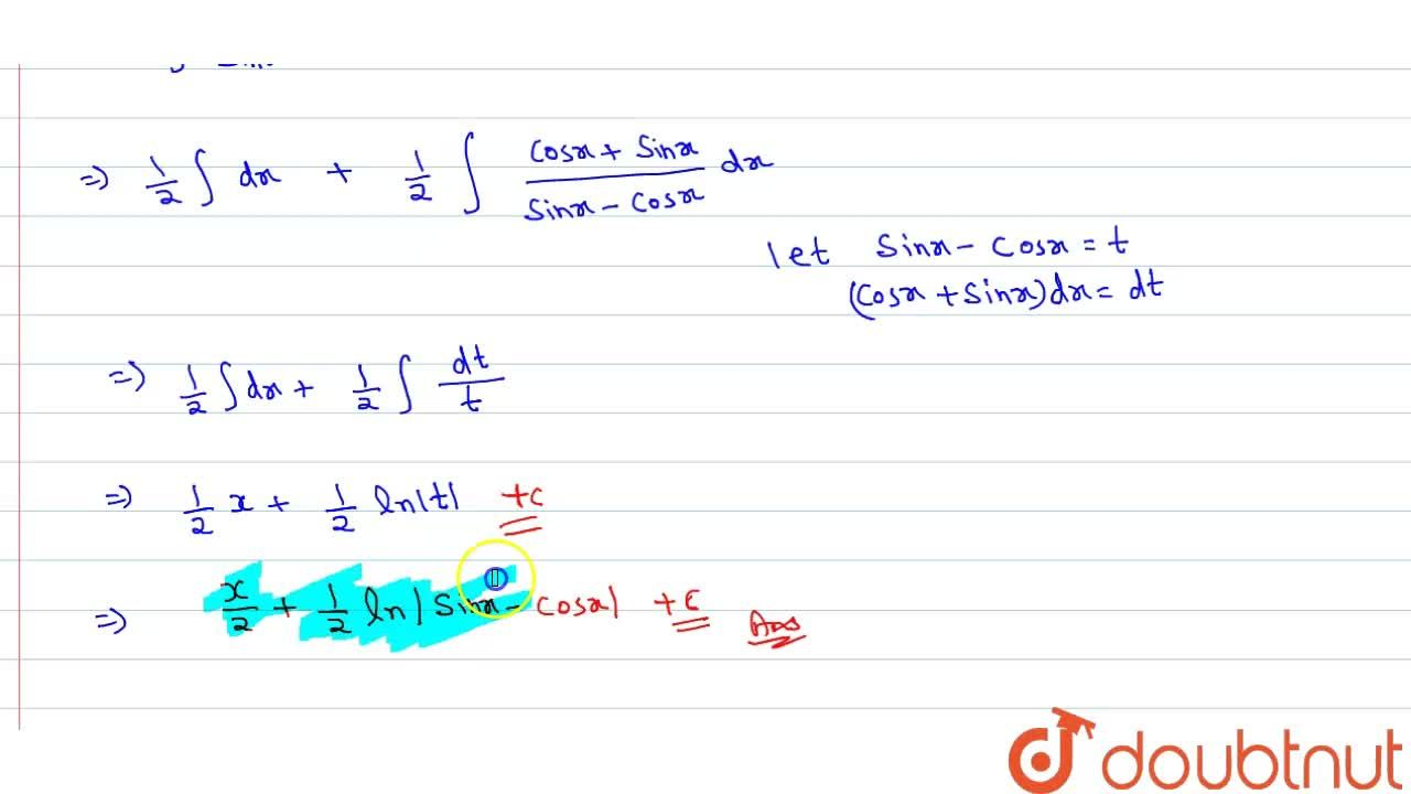 Solution for Integrate (1),(1-cot x)or(sin x),(sin x - cos x)