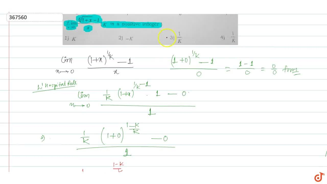 Solution for  Lim_( x -> 0) ((1+x)^(1,k) - 1) , x ,( k is  po