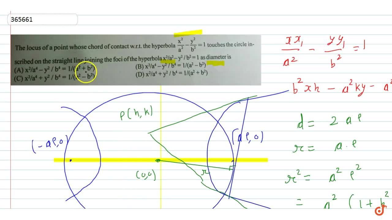 Solution for The locus of a point whose chord of contact w.r.t.