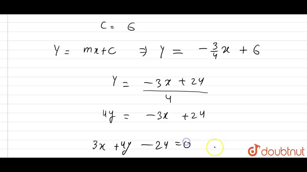Solution for Find the equation of the line drawn through the po
