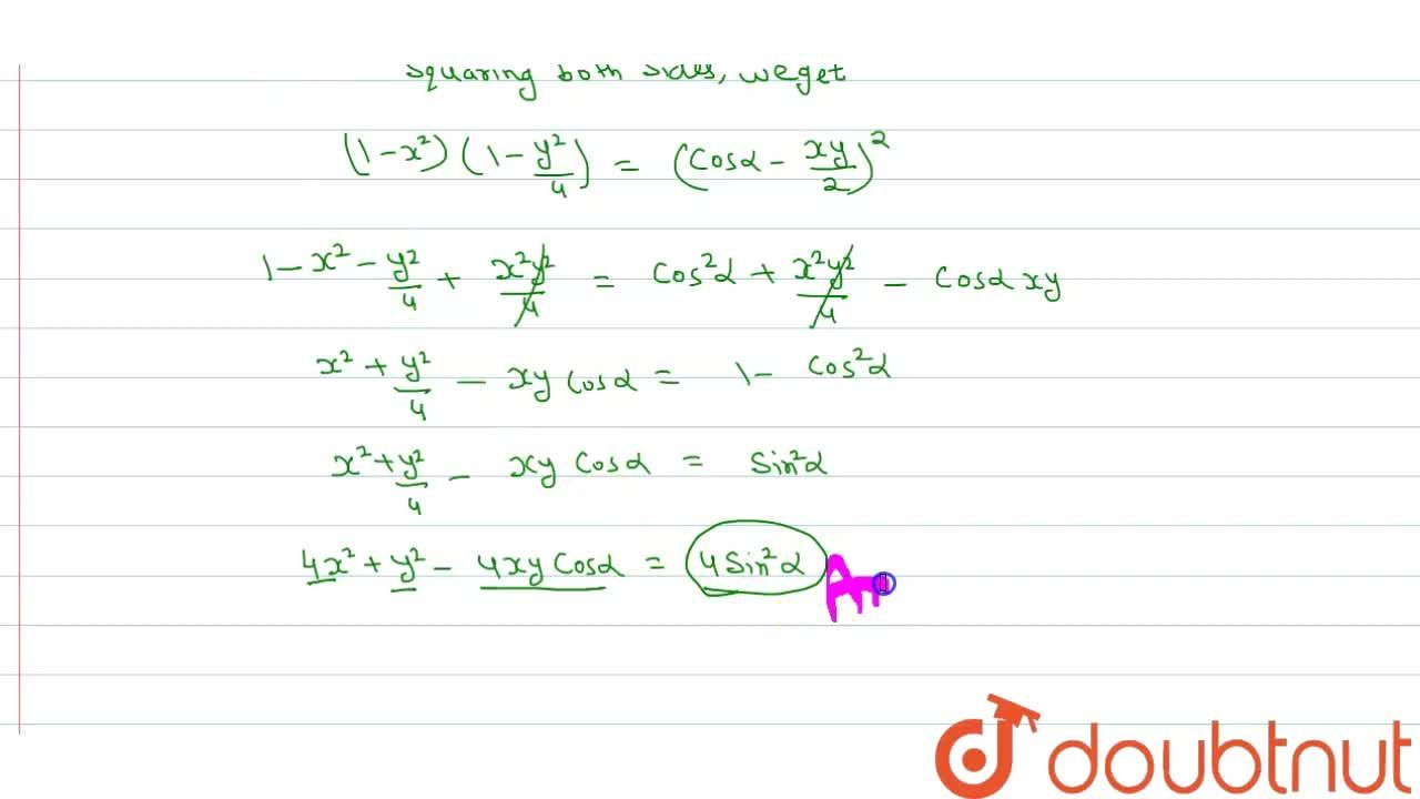 """Solution for If  cos ^(-1) x - cos ^(-1) """"""""( y ),(2) = alpha,"""