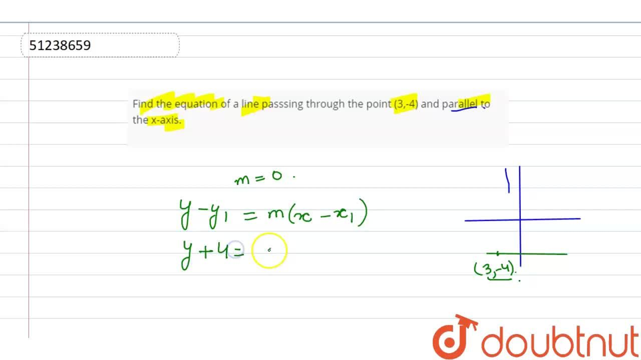 Solution for Find the equation of a line passsing through the p