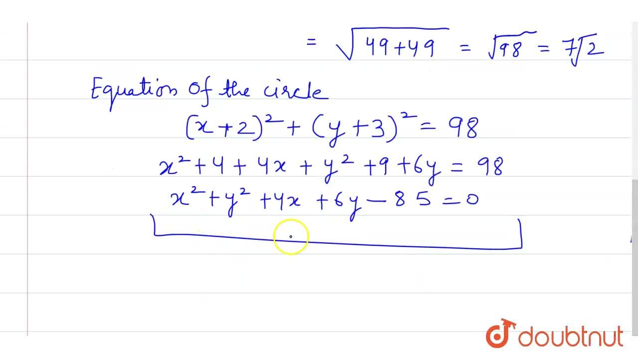 Solution for Find the  equation of the circle concentric with t