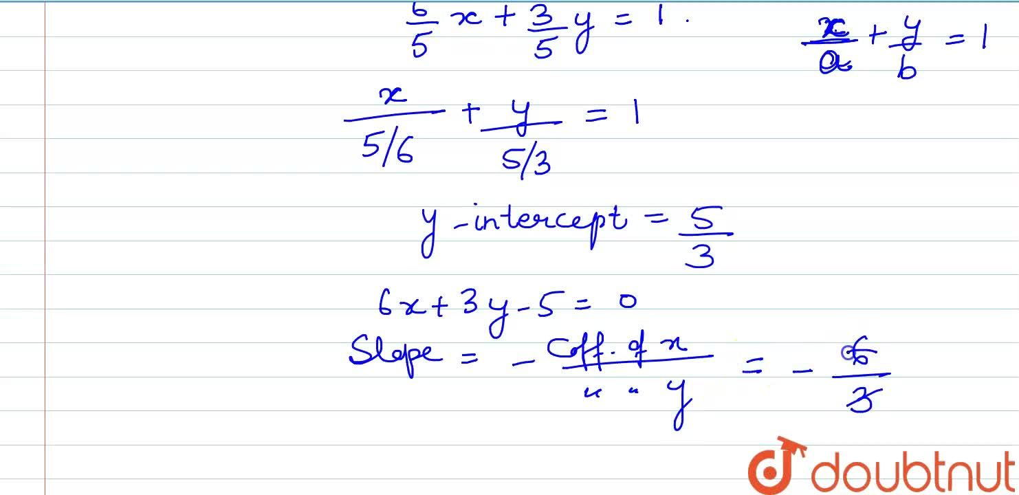 Reduce the equation 6x+3y-5=0 to the slope-intercept form and find its slope and y-intercept.