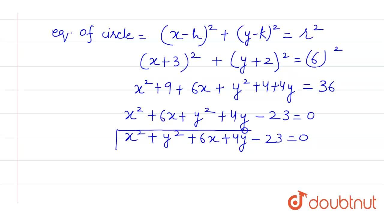 Solution for find the equation of circle whose centre  (-3, -