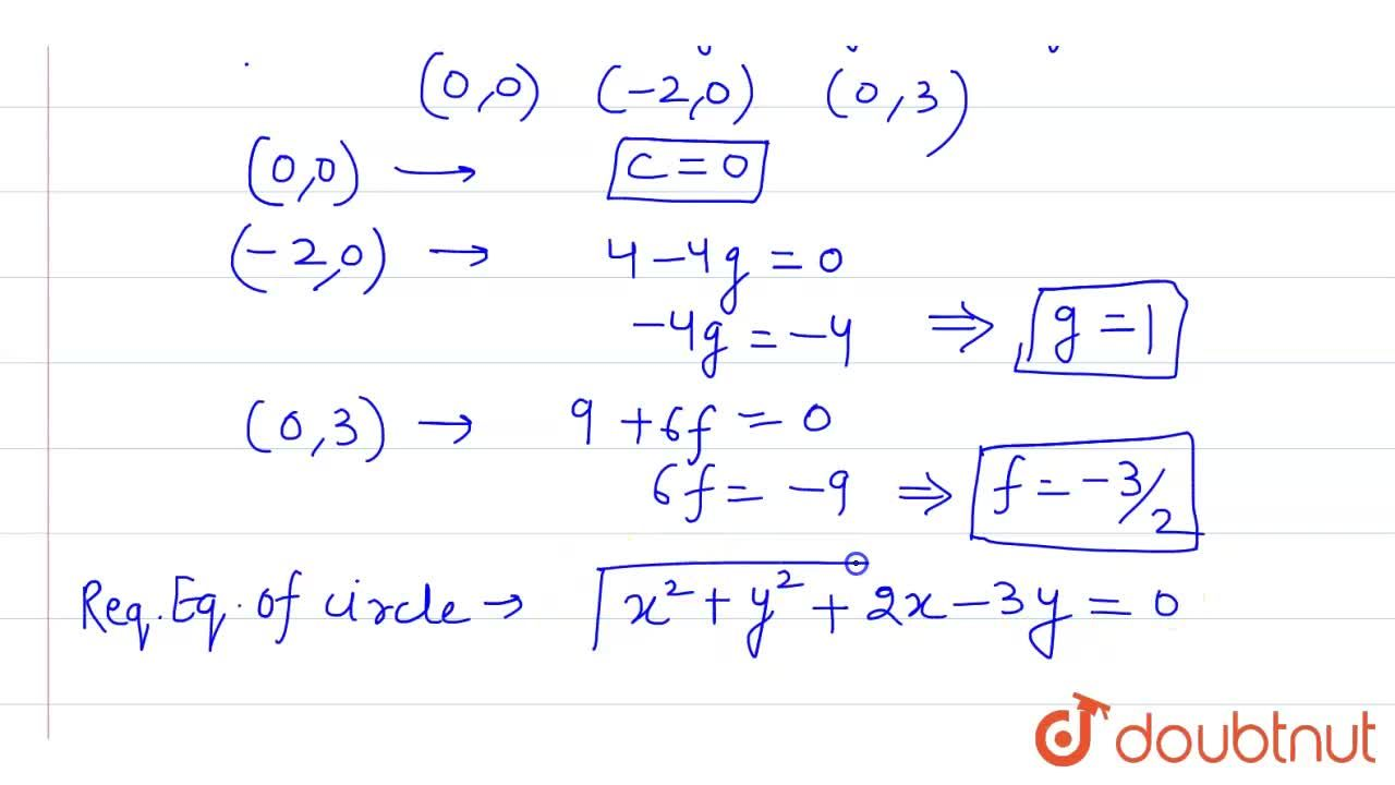 Find the equation  of a circle  which passes  through the origin and cuts off intercepts   - 2 and  3  from the x - axis and the y - axis respectively.