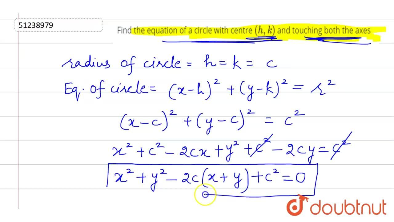 Solution for Find the equation of  a circle  with centre (h, k