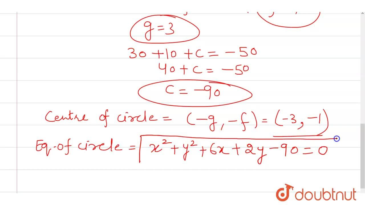 Solution for Find the equation  of the circle  whose  centre li
