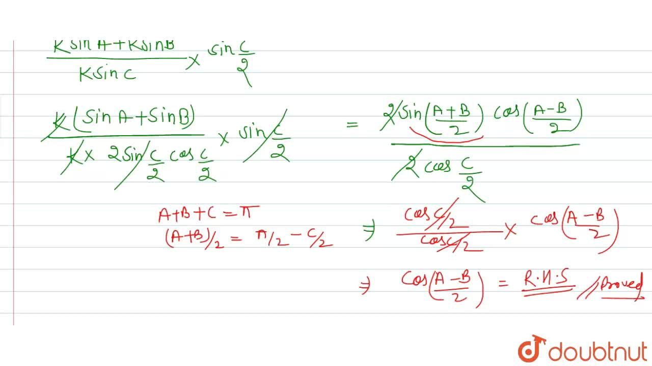 """Solution for In any DeltaABC, prove that <br> ((a+b)),csin"""""""""""