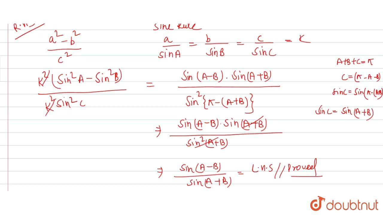 """Solution for In any DeltaABC, prove that <br> (""""sin(A-B)""""),("""