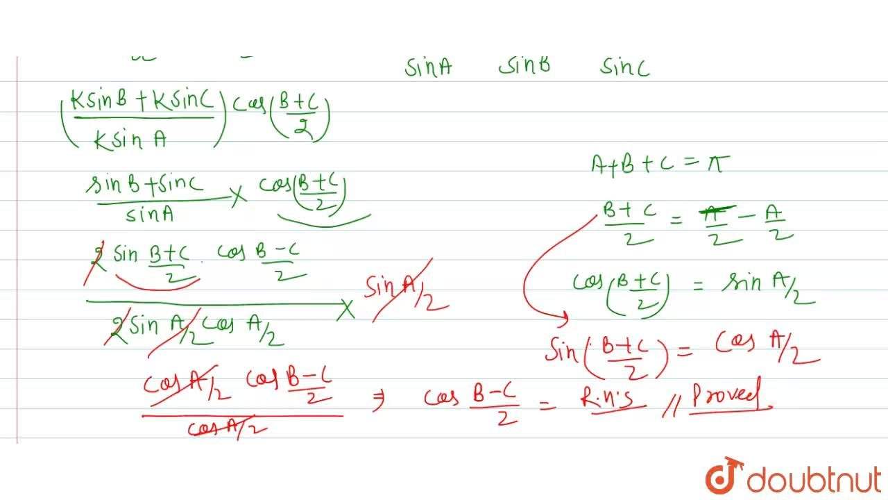 """Solution for In any DeltaABC, prove that <br> ((b+c)),acos"""""""""""