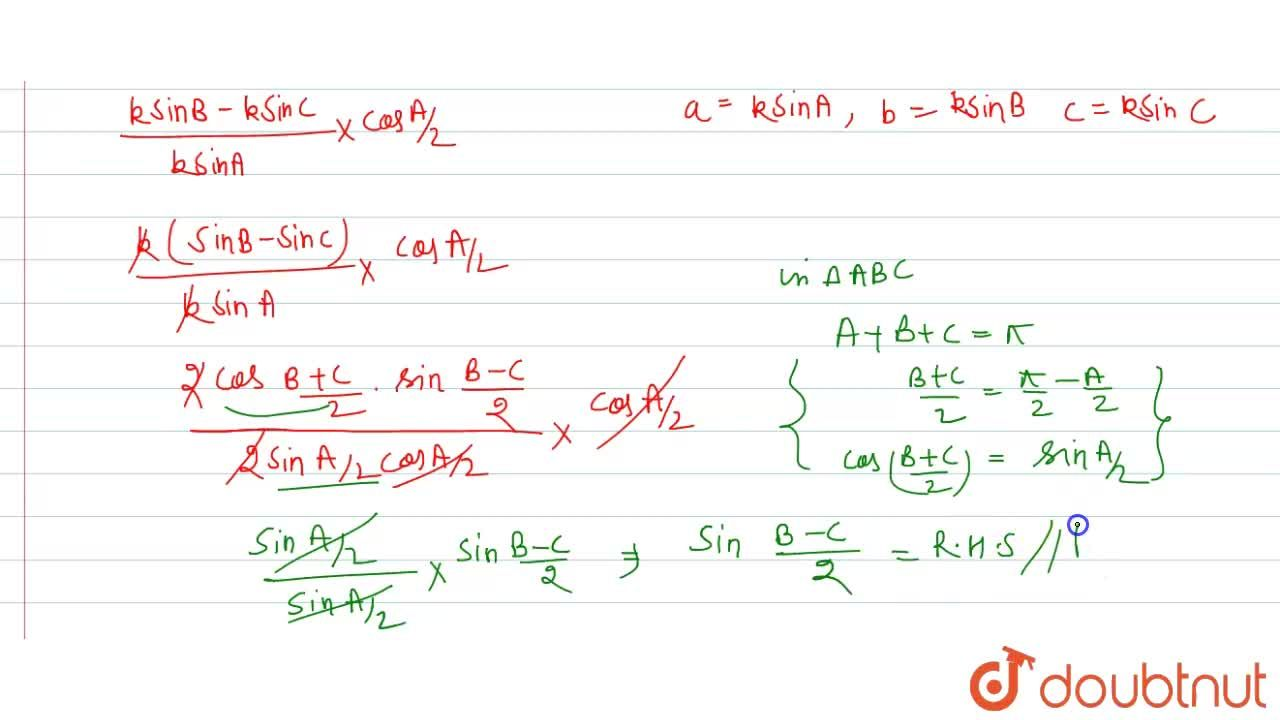 Solution for In any DeltaABC, prove that  ((b-c)),acosA,2=sin