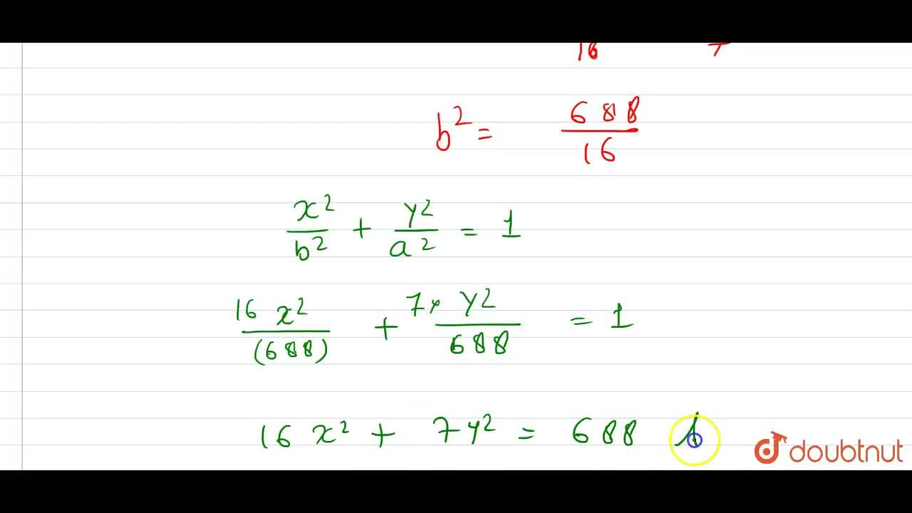 Solution for Find the equation of the ellipse with eccentricity