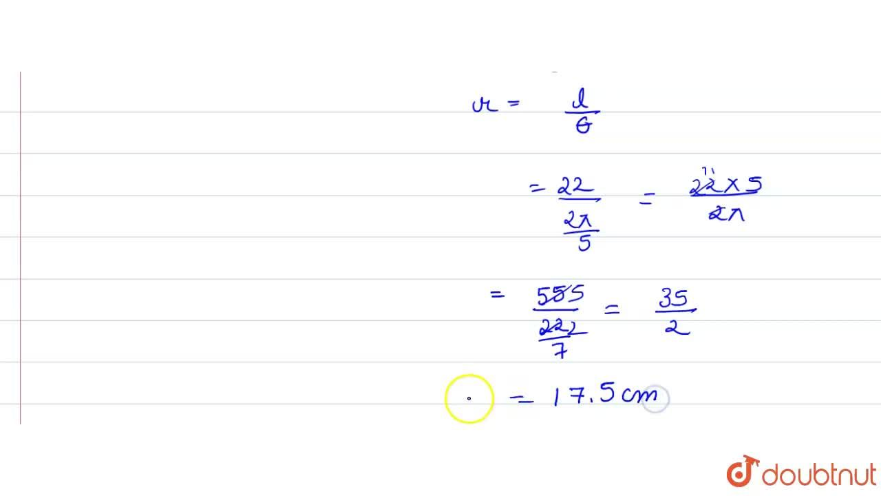 Solution for Find the radius of a circle in which a central ang