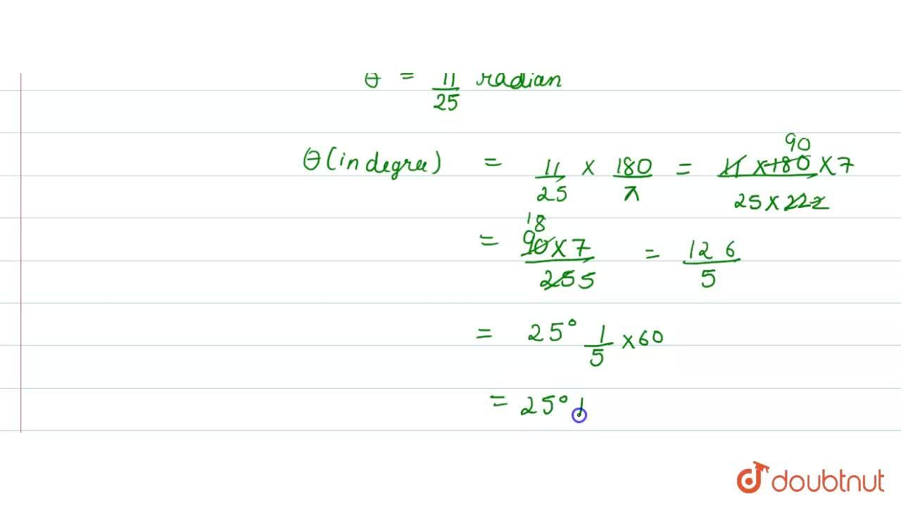 Solution for Find in degrees the angle subtended at the centre