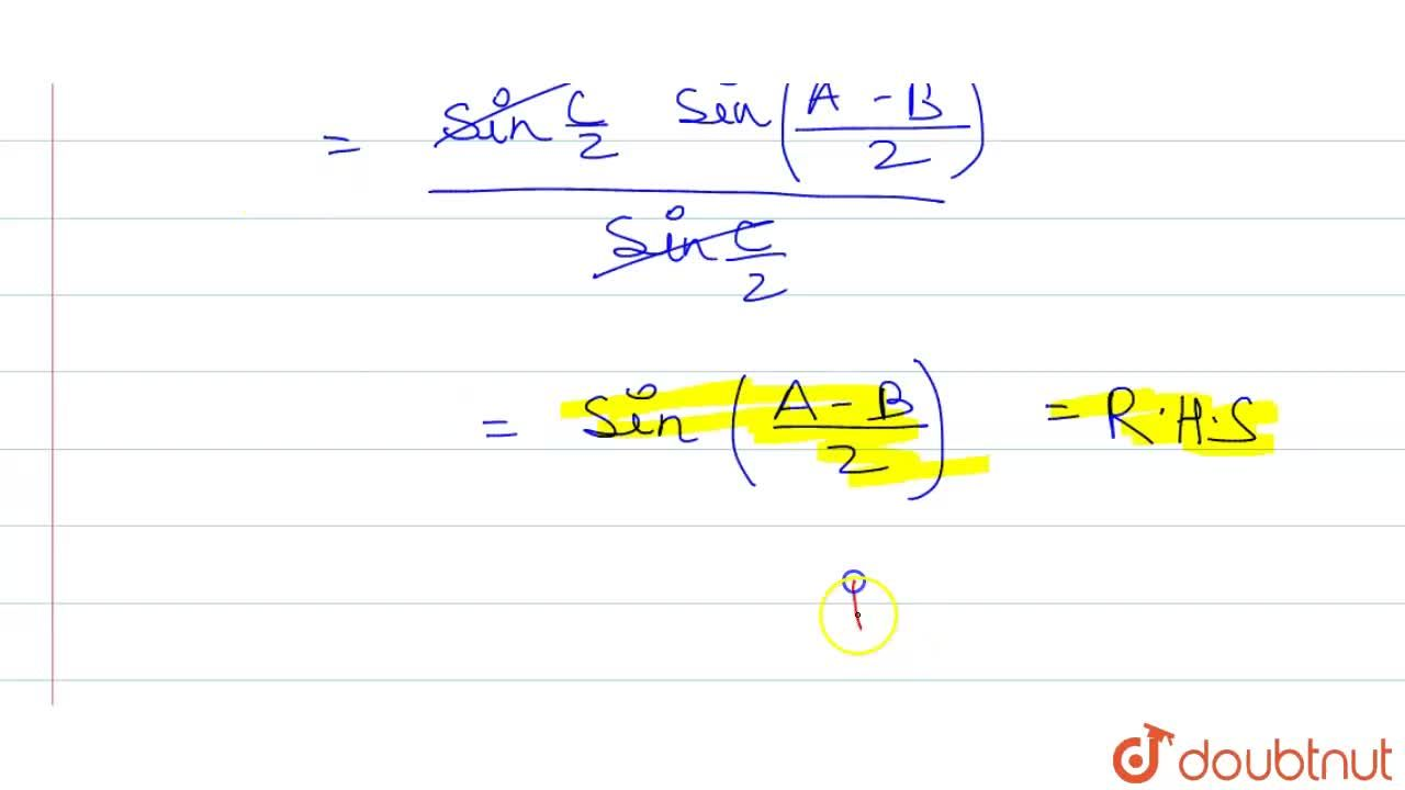 """Solution for In any DeltaABC, prove that ((a-b)),c""""cos""""C,2="""""""